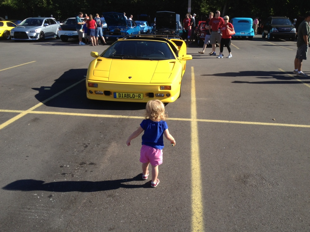 Toddler and a Lamborghini